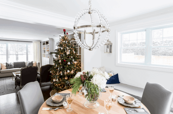 Dining room and living room open concept decorated for Christmas